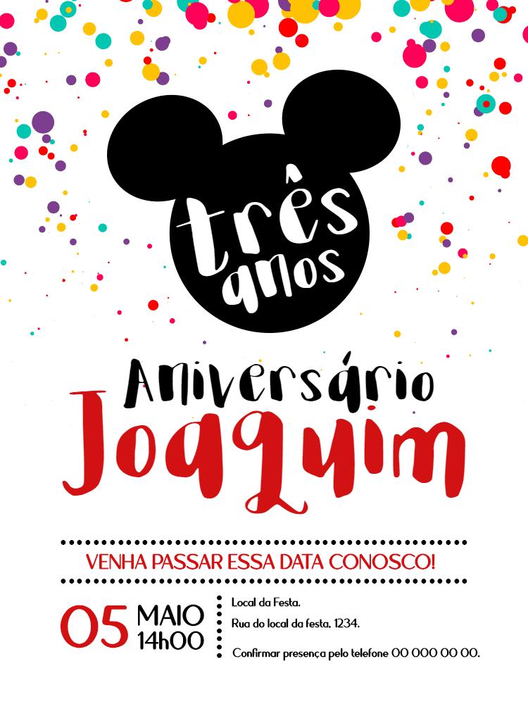 convite Aniversário Mickey, festa, infantil, disney, menino, colorido, comemoração, celebração, online, digital, personalizado, whatsapp