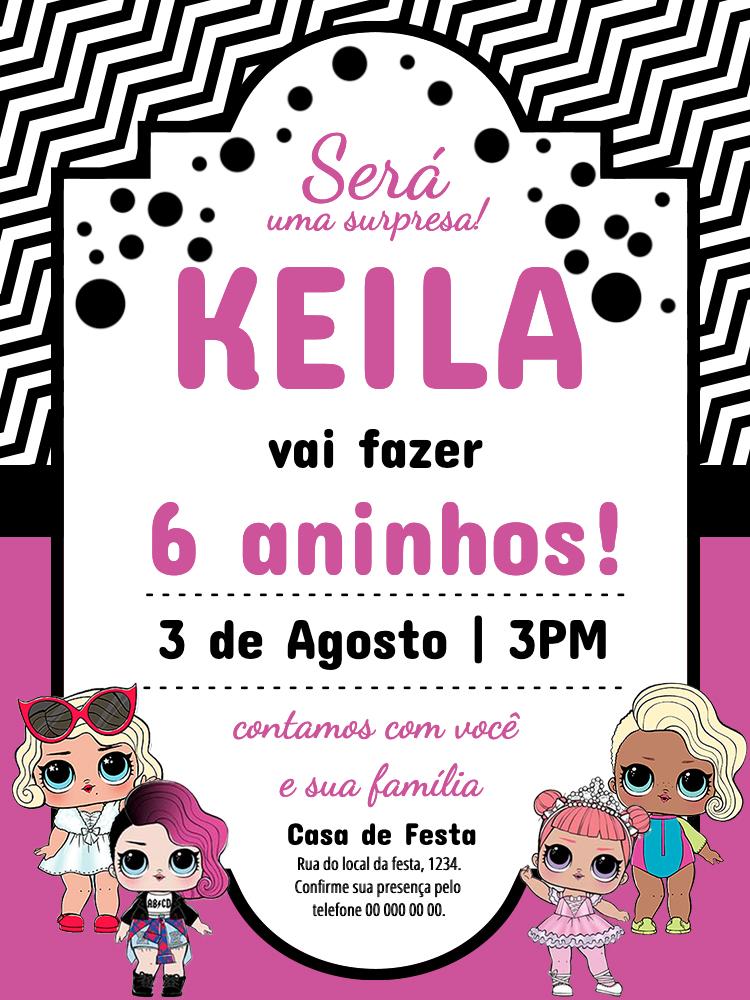 Convite Aniversário Bonequinha LOL, festa, menina, infantil, rosa, branco, azul, bolinhas, comemoração, celebração, online, digital, personalizado, whatsapp