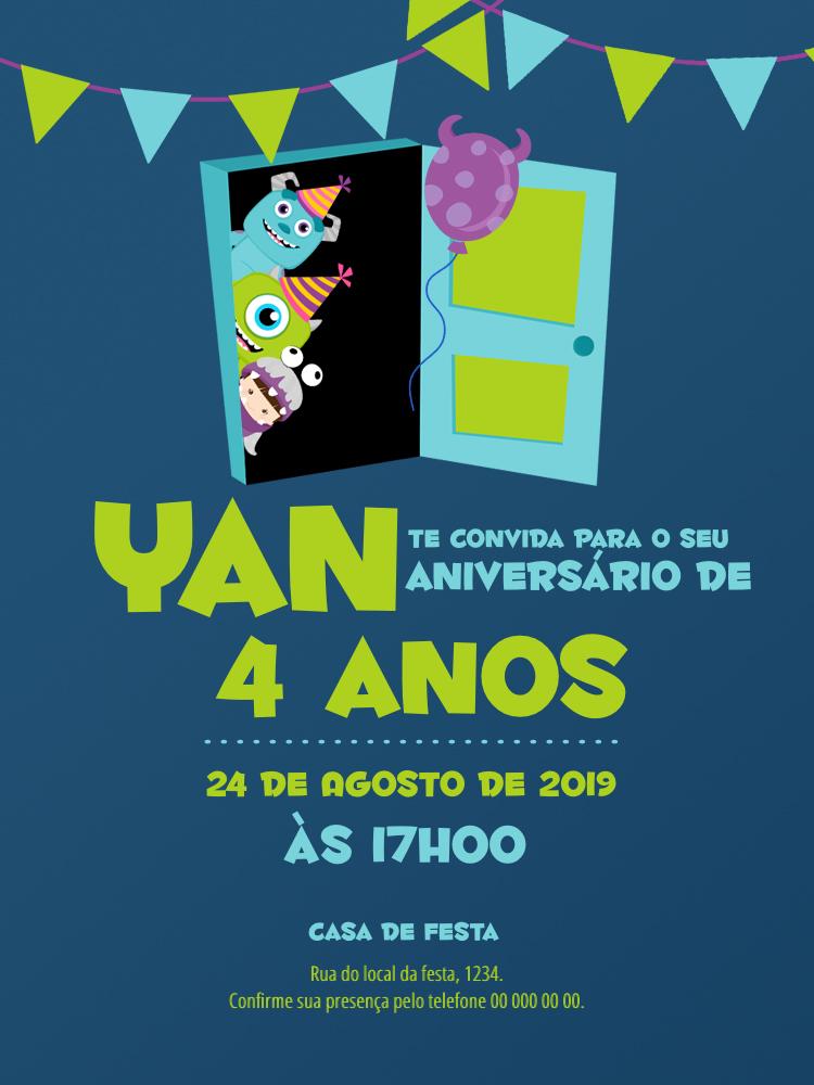 Convite Aniversário Monstros SA, infantil, festa, verde, azul, porta, Boo, Mike, Sullivan, balão, menina, menino, comemoração, celebração, online, digital, personalizado, whatsapp
