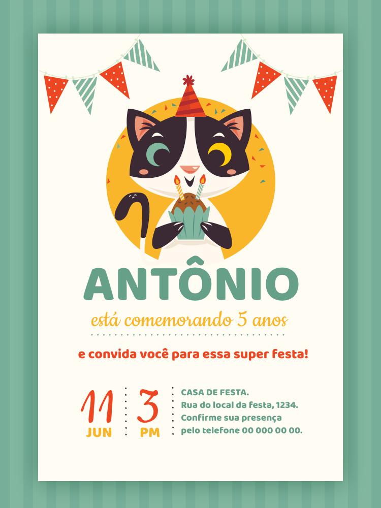 Convite Aniversário Gatinho, infantil, festa, menino, bandeirinha, bolo, vela, confete, verde, comemoração, celebração, online, digital, personalizado, whatsapp