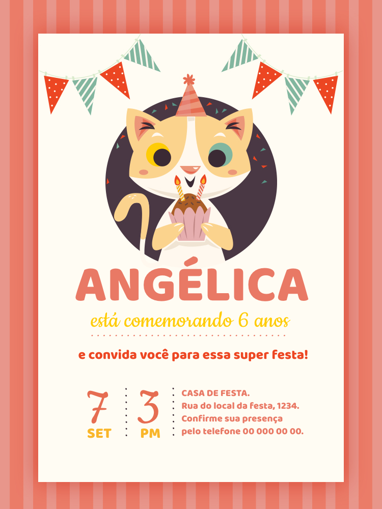 Convite Aniversário Gatinho, infantil, festa, menina, rosa, bandeirinha, bolo, velas, comemoração, celebração, online, digital, personalizado, whatsapp