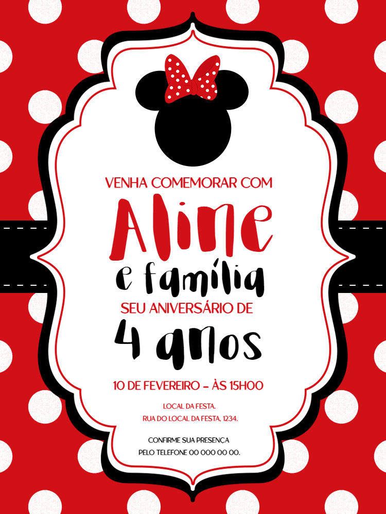 Convite Aniversário Minnie, festa, infantil, disney, menina, vermelho, preto, branco, bolhinhas, laço, comemoração, celebração, online, digital, personalizado, whatsapp