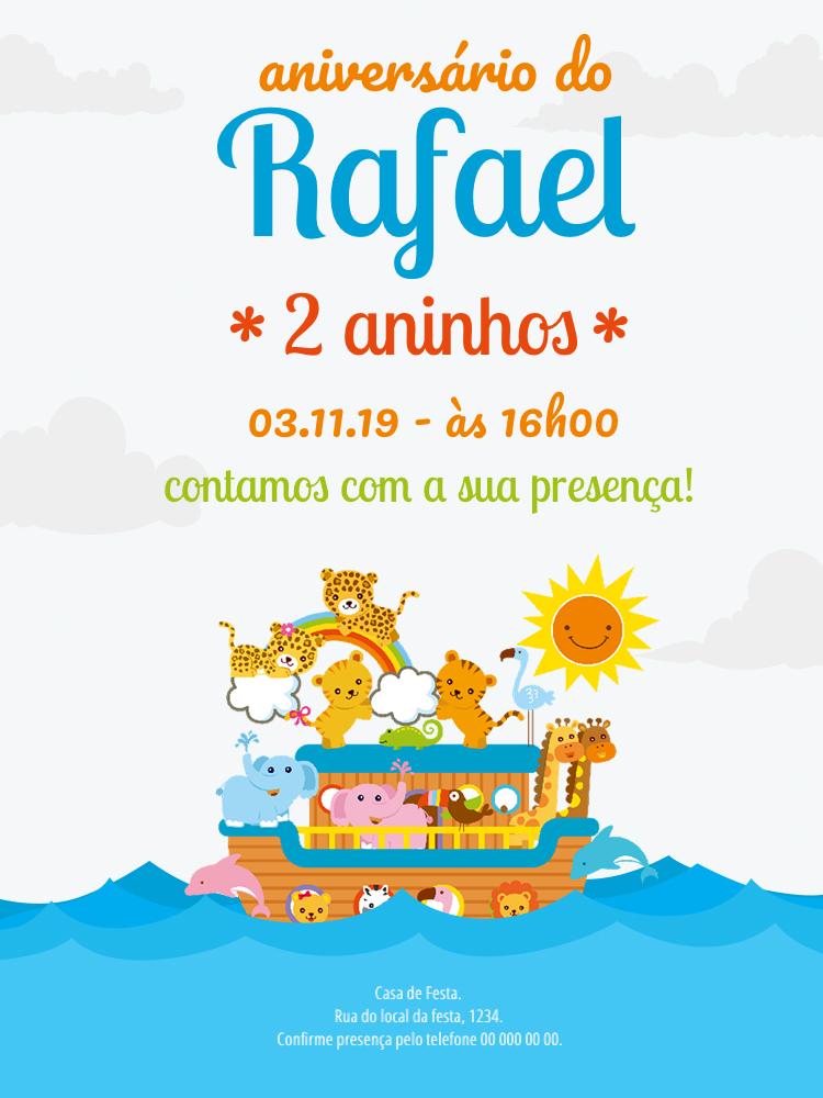 Convite Aniversário Arca de Noé, festa, infantil, bíblia, animais, Deus, chá, bebê, comemoração, celebração, online, digital, personalizado, whatsapp