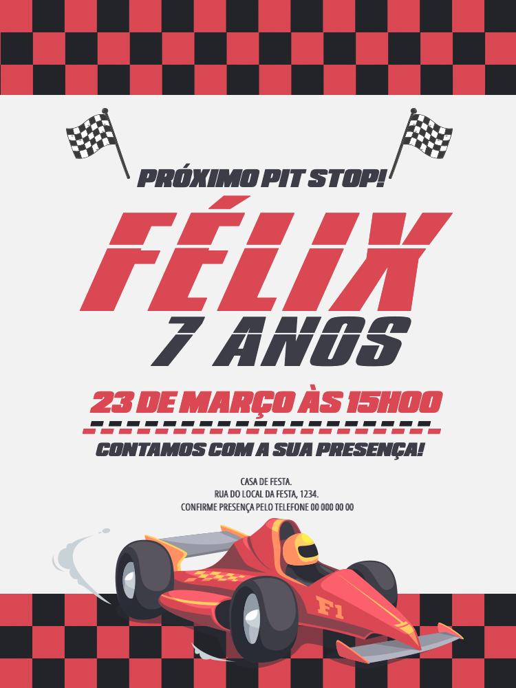Convite Fórmula 1, festa, infantil, aniversário, formula 1, corrida
