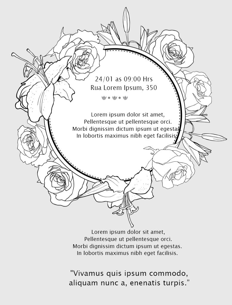 Convite Luto Flores, cinza, luto, funeral, enterro, falecimento, online, digital, personalizado, whatsapp