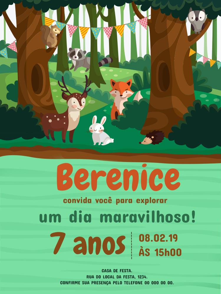 Convite Aniversário Floresta, infantil, festa, floresta, mata, animais, bandeirinhas, comemoração, celebração, online, digital, personalizado, whatsapp