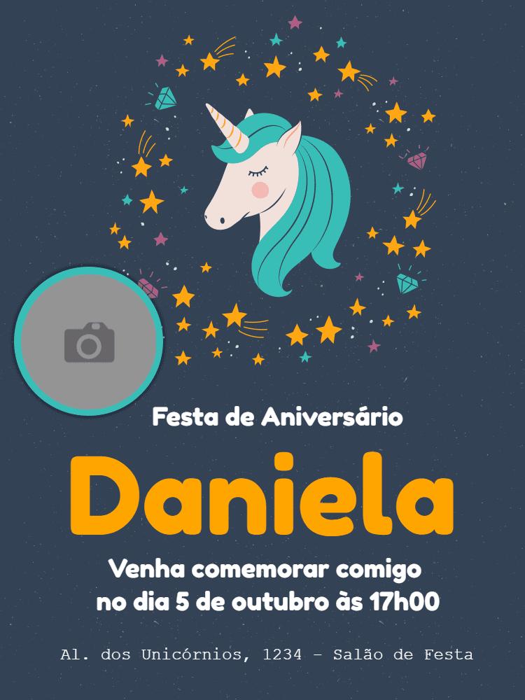 convite aniversário, foto, festa, unicórnio, menina, azul, estrelas, diamantes, comemoração, celebração, online, digital, whatsapp