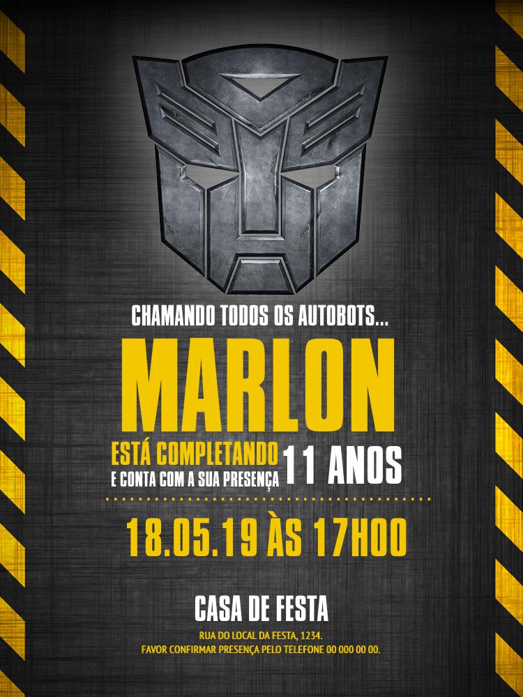 Convite Aniversário Transformers, infantil, festa, carros, maquinas, preto, amarelo, menino, criança, comemoração, celebração, online, digital, personalizado, whatsapp