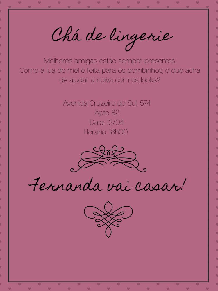 Convite chá de lingerie, coração, laço, preto, rosa, arabesco, mulher, adulto, festa, comemoração, celebração, online, digital, personalizado, whatsapp