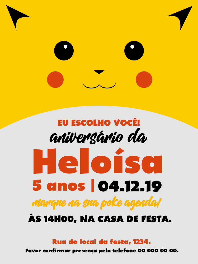 Convite Aniversário Pokémon, infantil, festa, pikachu, amarelo, fofo, menino, menina, comemoração, celebração, online, digital, personalizado, whatsapp