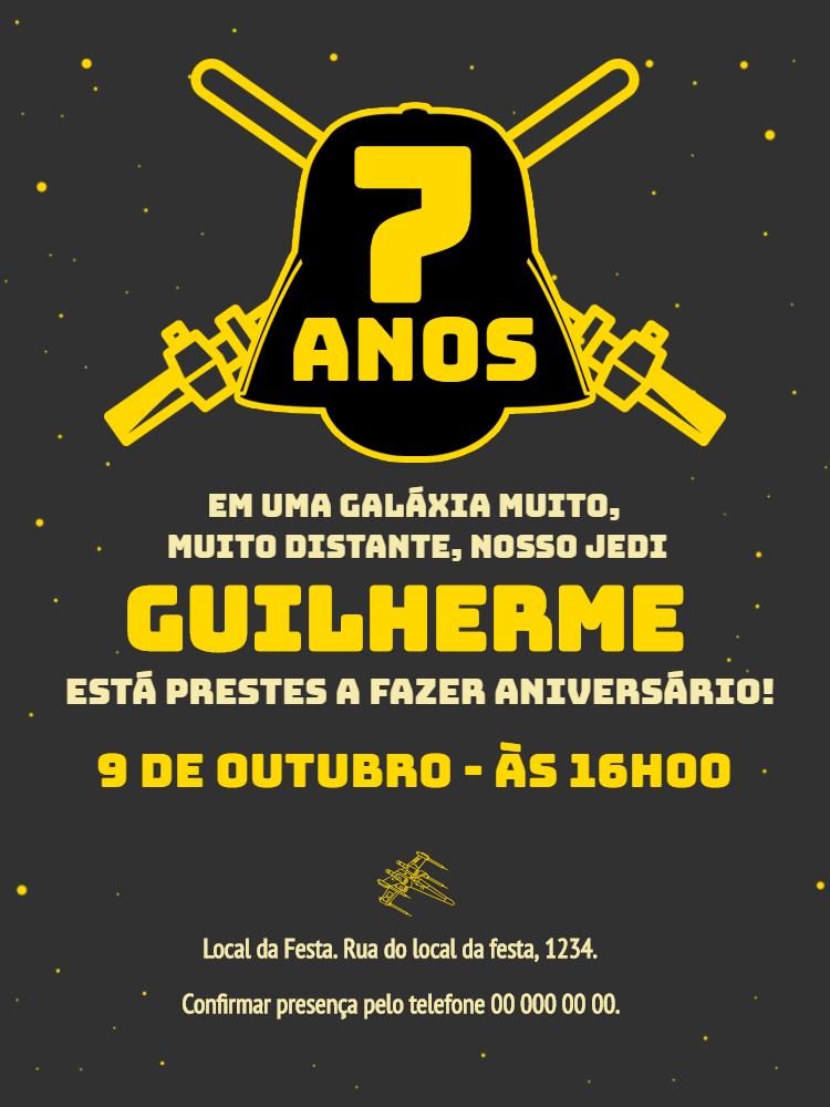 Convite Aniversário Star Wars, festa, infantil, menino, espaço, amarelo, guerra, estrelas, comemoração, celebração, online, digital, personalizado, whatsapp