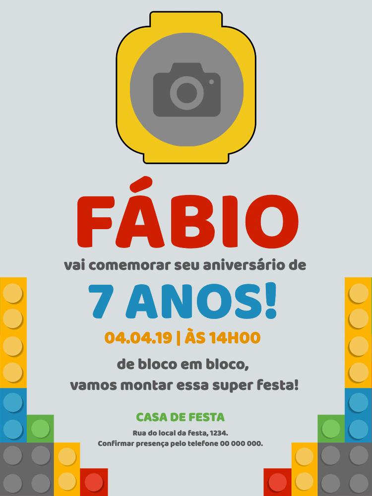 Convite Aniversário Lego, festa, infantil, menino, blocos, montagem, brinquedo, foto, comemoração, celebração, online, digital, personalizado, whatsapp
