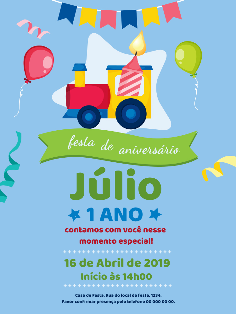 Convite Aniversário Trenzinho, festa, infantil, balão, balões, confetes, bandeirinhas, verde, rosa, azul, amarelo, vela, menino, comemoração, celebração, online, digital, personalizado, whatsapp