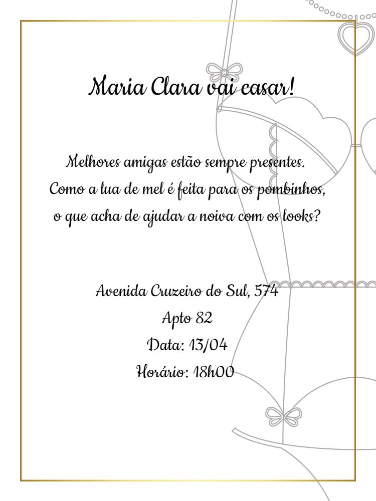 Convite Online Para Cha De Lingerie
