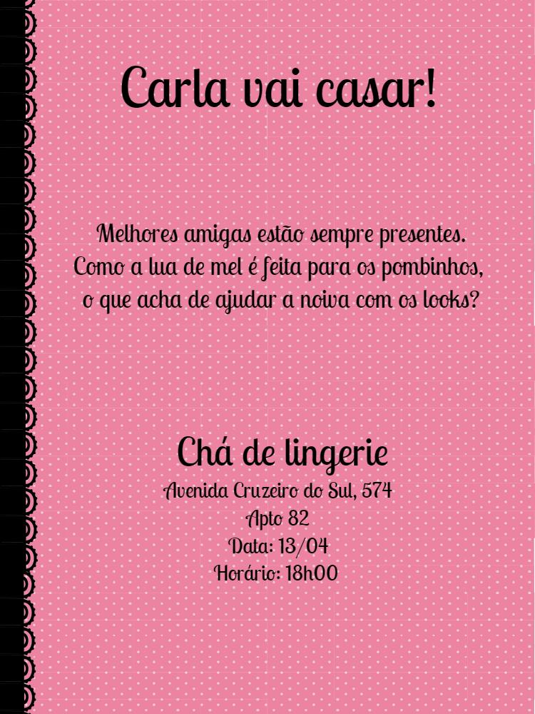 Convite chá de lingerie, Rosa, bolinha, renda, preto, mulher, feminino, festa, comemoração, celebração, online, digital, personalizado, whatsapp