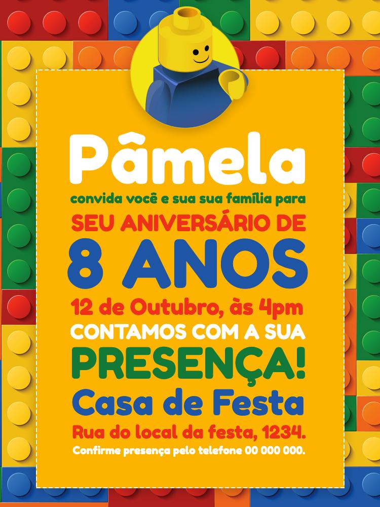 Convite Aniversário Lego, festa, infantil, peças, brinquedos, colorido, blocos, menino, menina, jogo, comemoração, celebração, online, digital, personalizado, whatsapp