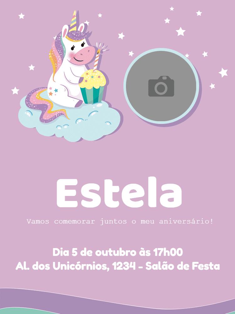 convite aniversário, unicórnio, lilás, estrela, menina, festa, bolo, cupcake, foto, nuvem, infantil, comemoração, celebração, online, digital, personalizado, whatsapp