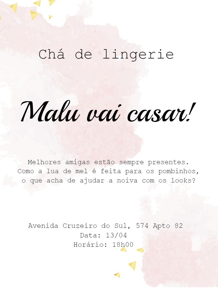 Convite chá de lingerie, Rosa, aquarela, branco, dourado, delicado, mulher, feminino, festa, adulto, comemoração, celebração, online, digital, personalizado, whatsapp