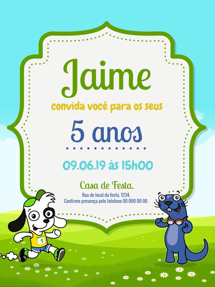 Convite Aniversário Doki Discovery, infantil, festa,  Fico, azul, verde, menino, comemoração, celebração, online, digital, personalizado, whatsapp