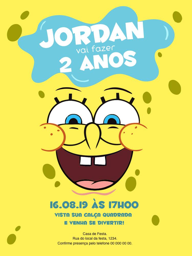 Convite Aniversário Bob Esponja, infantil, festa, amarelo, carinhas, comemoração, menino, celebração, online, digital, personalizado, whatsapp