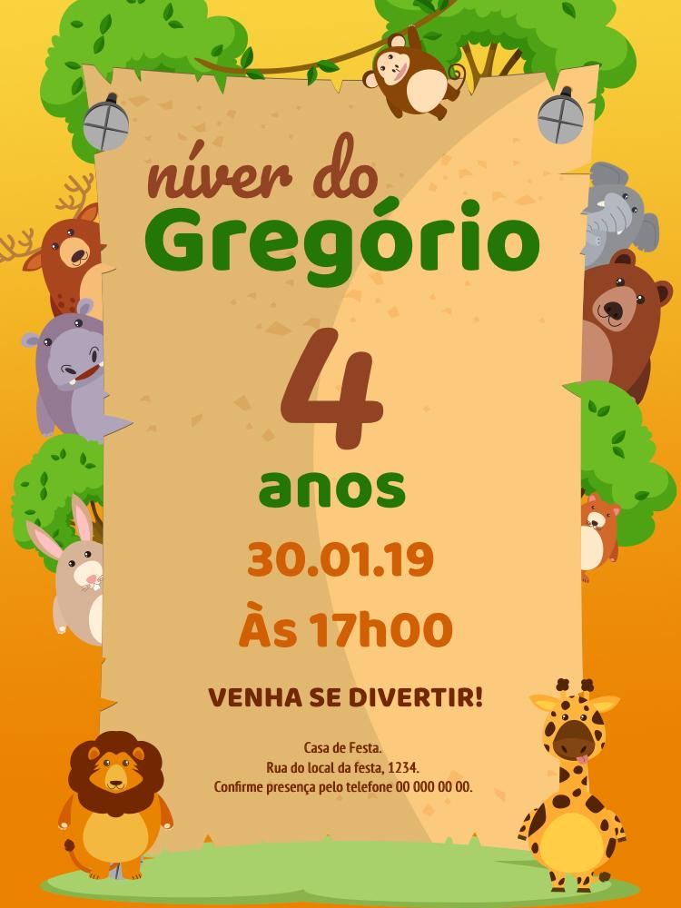 Convite Aniversário Safari, infantil, festa, zoológico, animais, cartaz, menino, comemoração, celebração, online, digital, personalizado, whatsapp