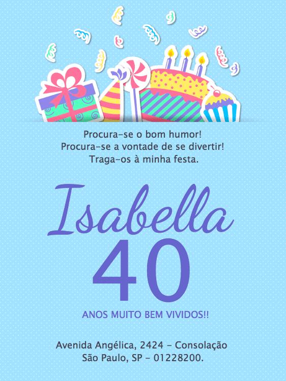 convite aniversário, festa, azul, delicado, bolo, presente, confete, pirulito, infantil, chá, bebê, comemoração, celebração, online, personalizado, whatsapp