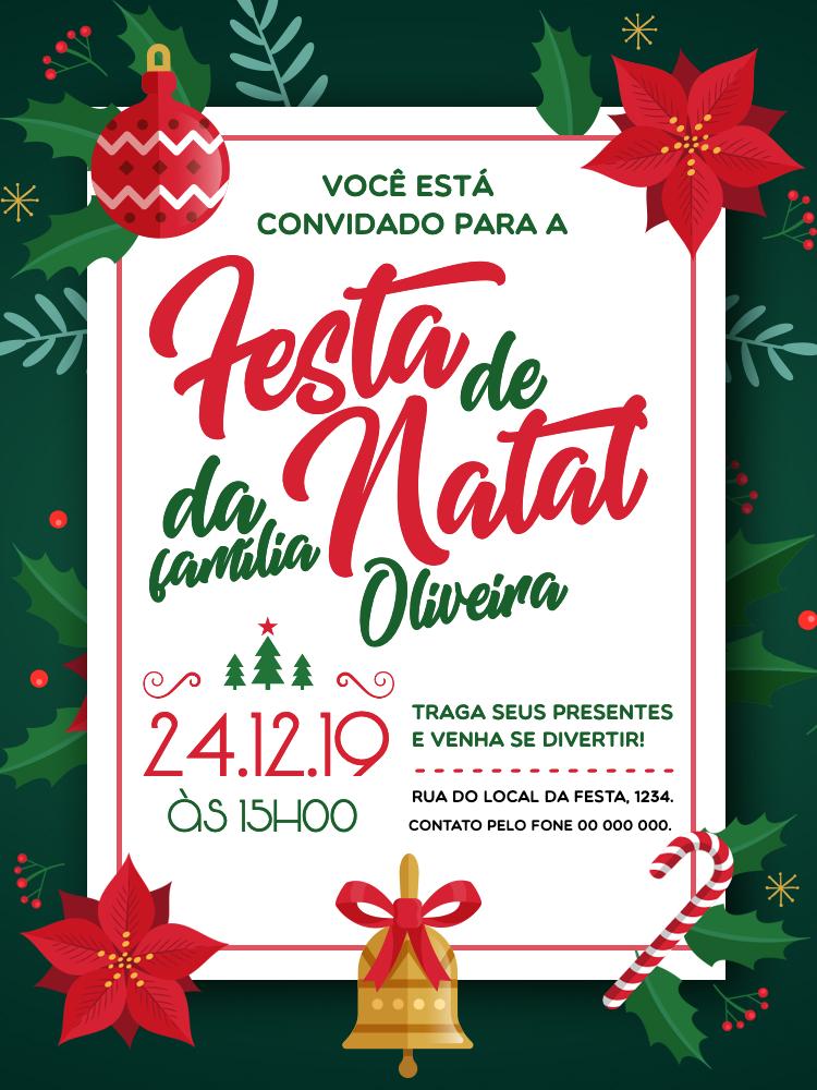 Convite Natal, festa, janta, flores, sino, verde, vermelho, jantar, família, feriado, comemoração, celebração, online digital, personalizado, whatsapp