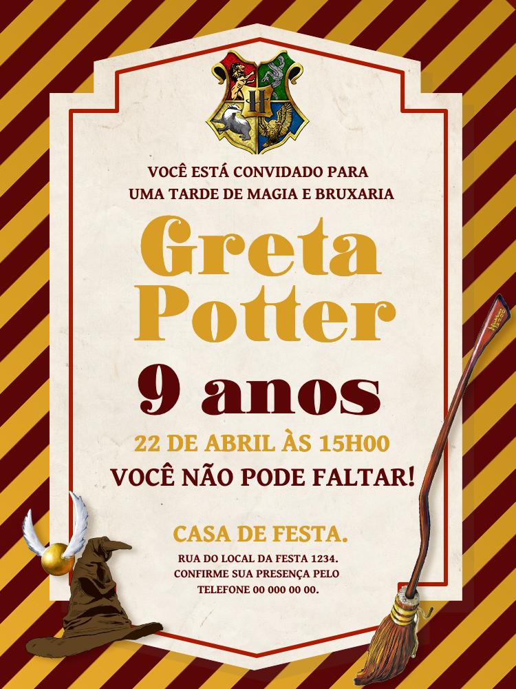 Convite Aniversário Harry Potter, infantil, festa, bruxos, trouxas, vassoura, chapéu, menino, menina, amarelo, vermelho, hogwarts, comemoração, celebração, online, digital, personalizado, whatsapp