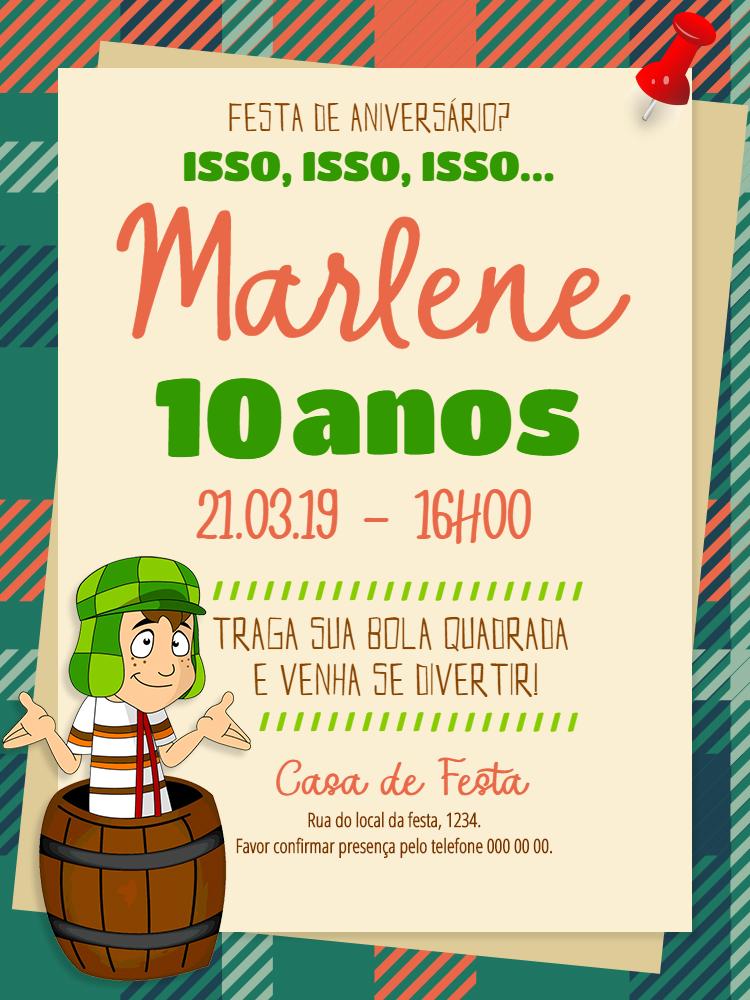 Convite Online Do Chaves Edite Gratis
