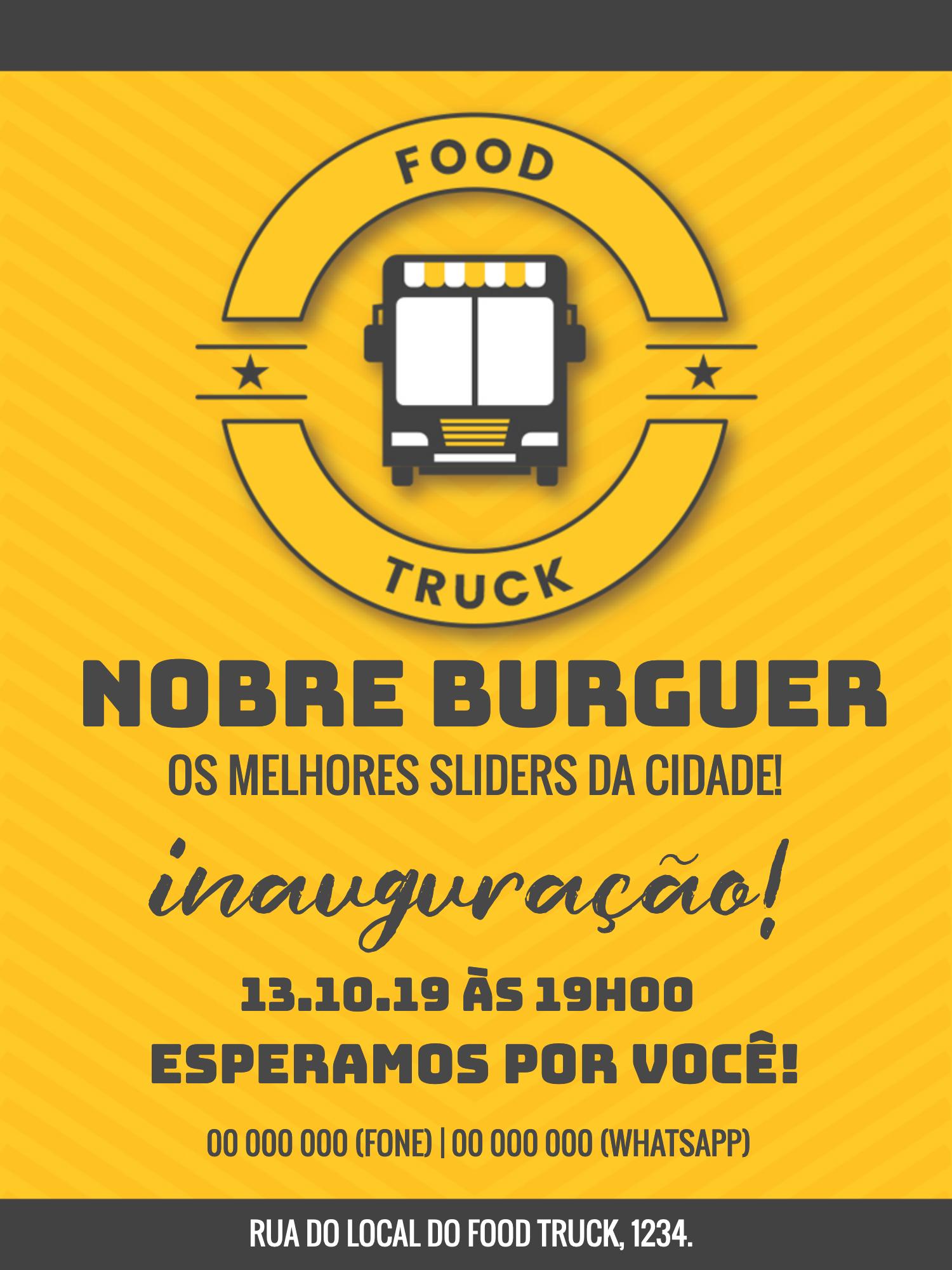 Convite Inauguração Food Truck, burguer, comércio, venda, comida, amarelo, divulgação, propaganda, comemoração, celebração, online, digital, personalizado, whatsapp