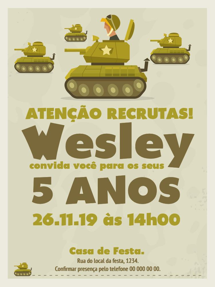 Convite Aniversário Tanque de Guerra, infantil, festa, verde, estrela, menino, soldados, guerra,  comemoração, celebração, online, digital, personalizado, whatsapp