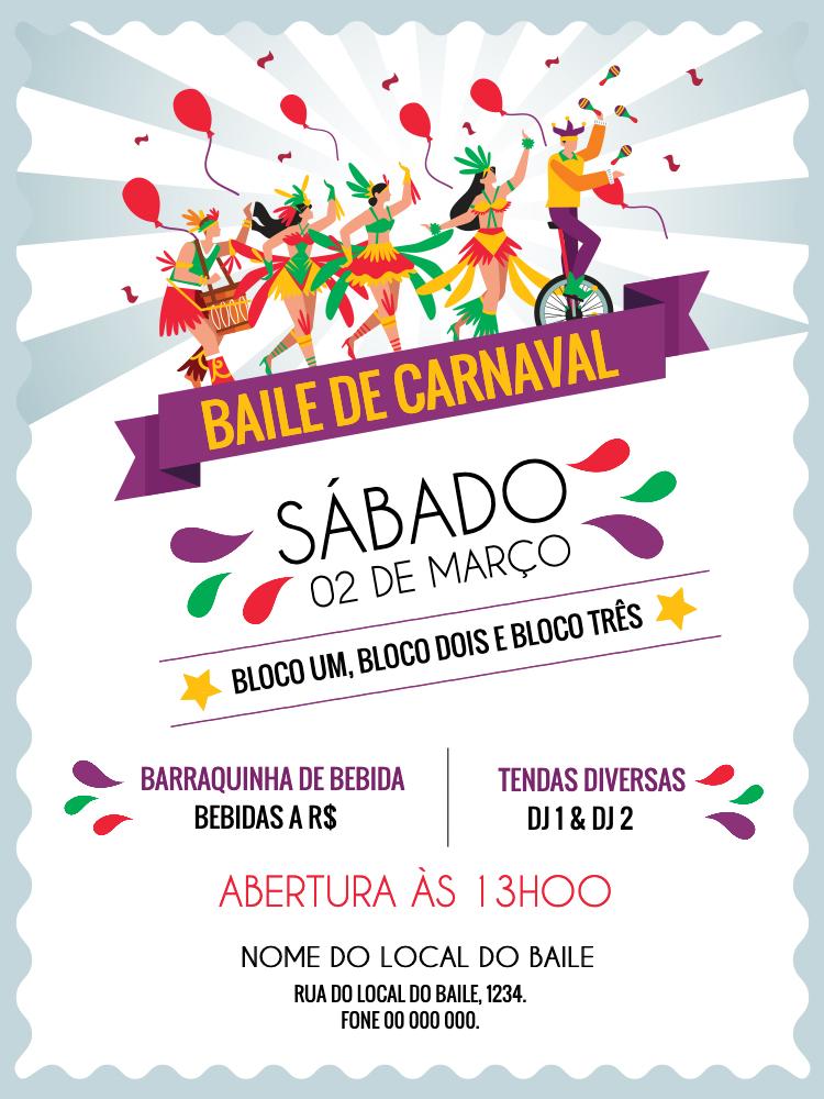 Convite Carnaval, festa, feriado, bloco, fantasia, azul, colorido, comemoração, celebração, online, digital, personalizado, whatsapp