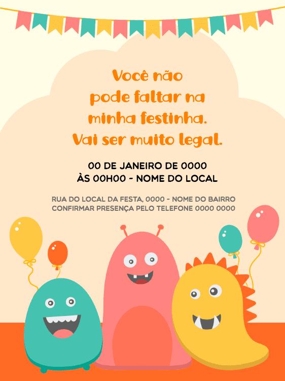 Convite Aniversário, monstrinho, laranja, fofo, bandeirinhas, balões, infantil, comemoração, celebração, online, digital, personalizado, whatsapp
