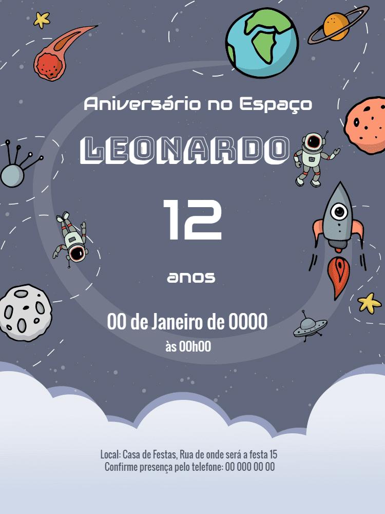 Convite  Aniversário Espaço, festa, astronauta, menino, foguete, nave, planetas, meteoro, celebração, comemoração, online, digital, whatsapp, personalizado