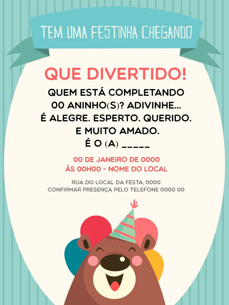 convite aniversário menino, urso, criança, fofo, azul, balão, chá, revelação, bebê, comemoração, celebração, online, digital, personalizado, whatsapp