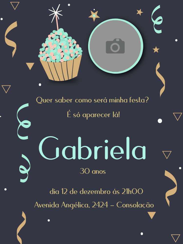 convite aniversário cupcake, confete, foto, estrela, feminino, comemoração, celebração, online, digital, personalizado, whatsapp