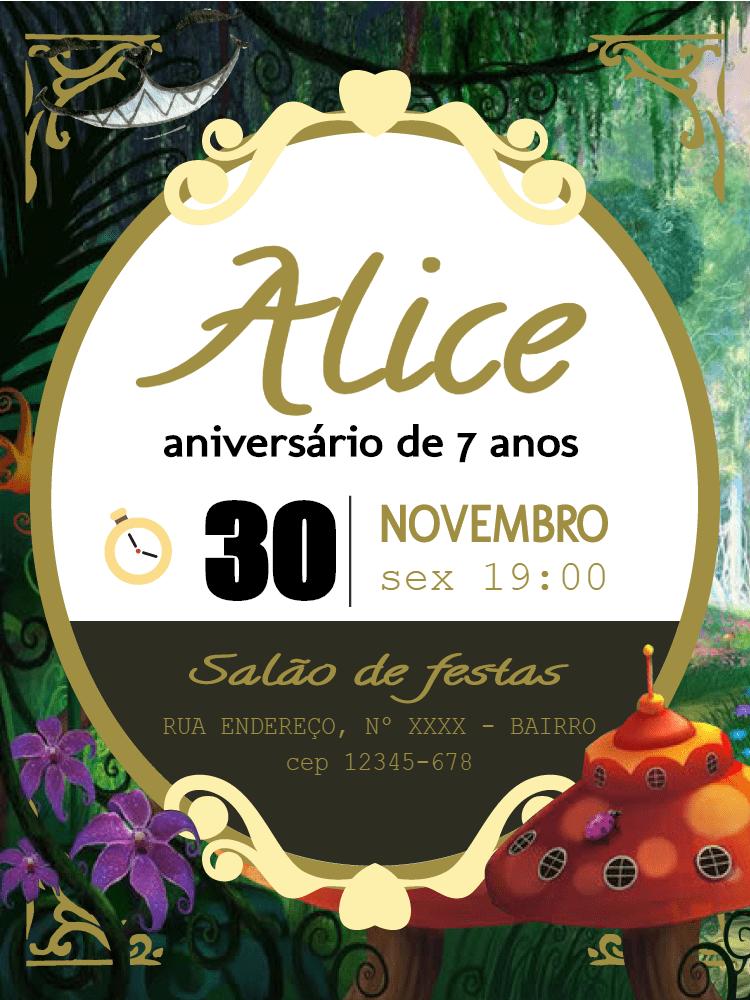 Convite aniversário Alice, festa, disney, infantil, menina, sorriso, gato, comemoração, celebração, online, digital, personalizado, whatsapp