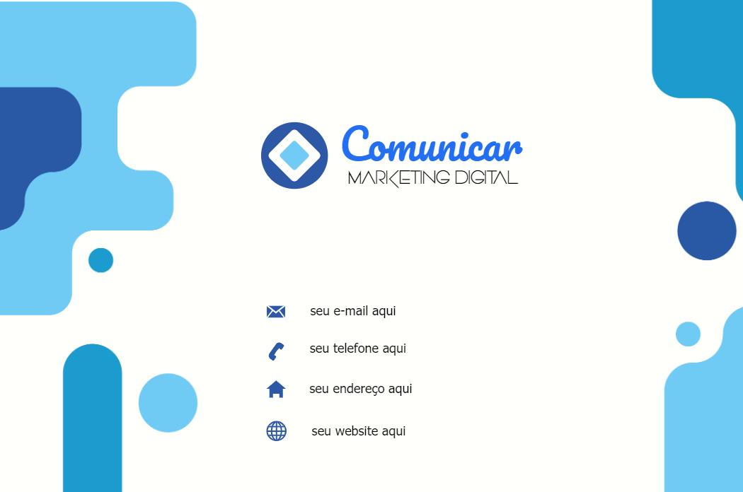 Cartão Verso Comunicação, Comunicação, Marketing, Digital, Agência, Mídias, Sociais, Administrador, Designer, logo, logomarca, online digital, personalizado, whatsapp, azul, branco