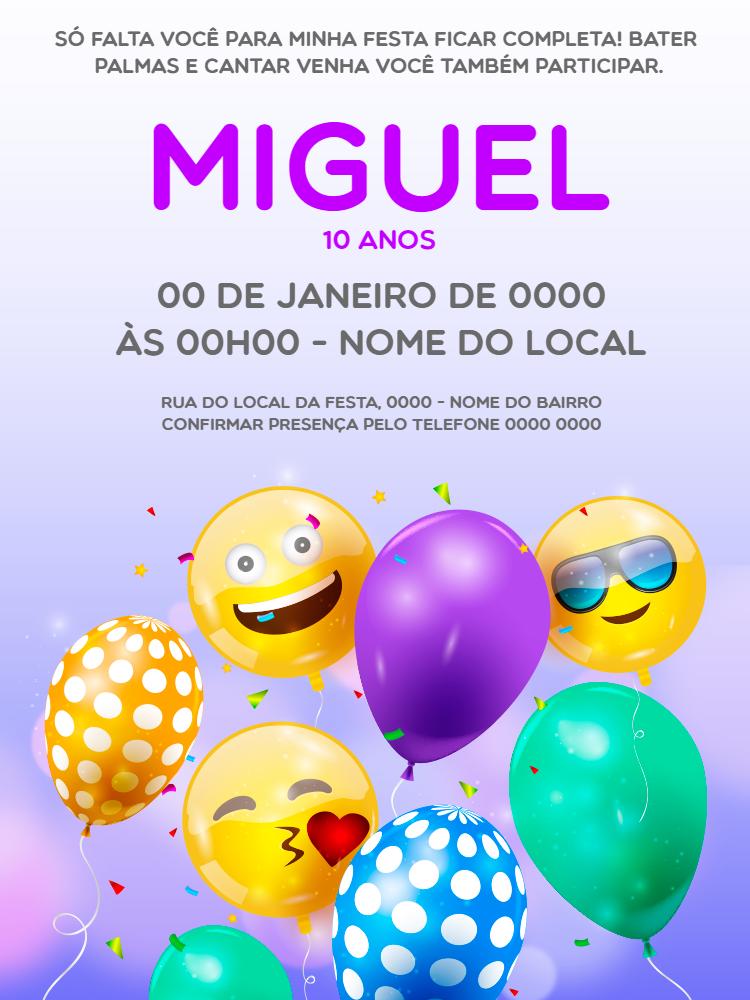 convite aniversário, festa, criança, infantil, balão, colorido, alegre, emoji, confete, comemoração, celebração, online, digital, personalizado, whatsapp