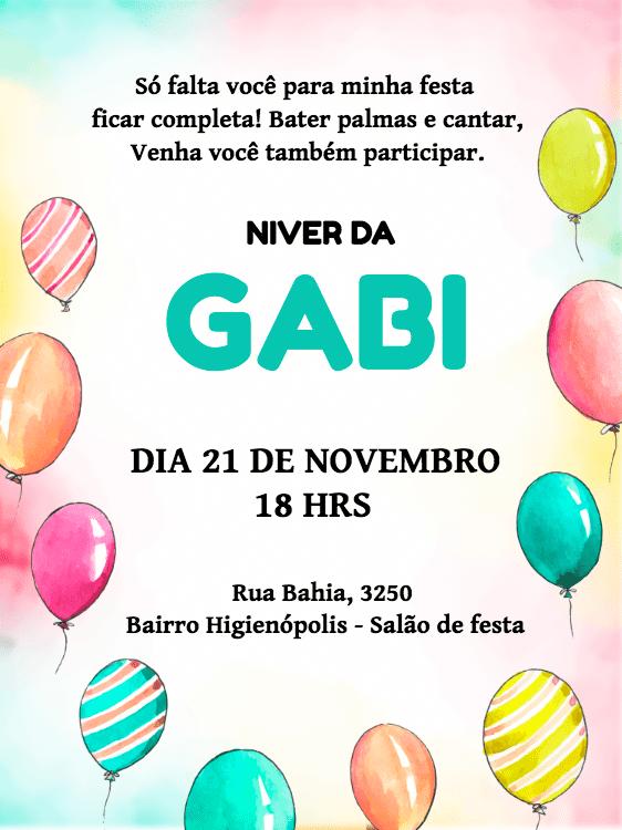 convite aniversário, menina, criança, balões, coloridos, infantil, comemoração, celebração, online, digital, personalizado, whatsapp