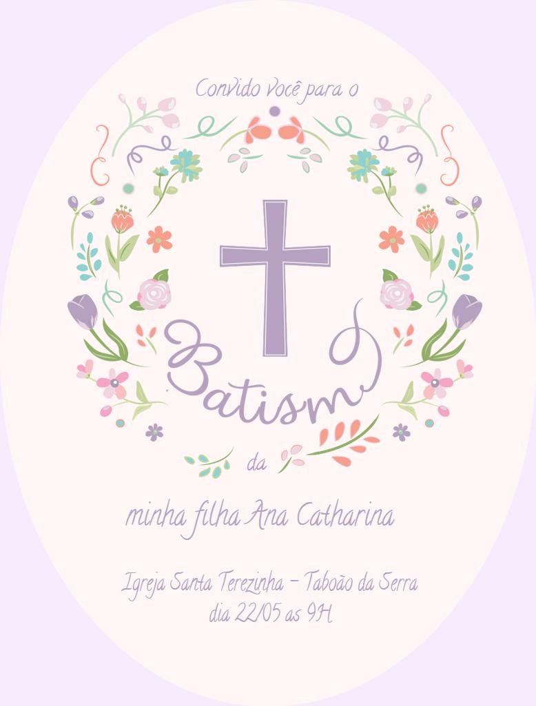 Convite Batismo Menina, flores, batismo, ocasião, religião, batizado, celebração, comemoração, online, digital, personalizado, whatsapp