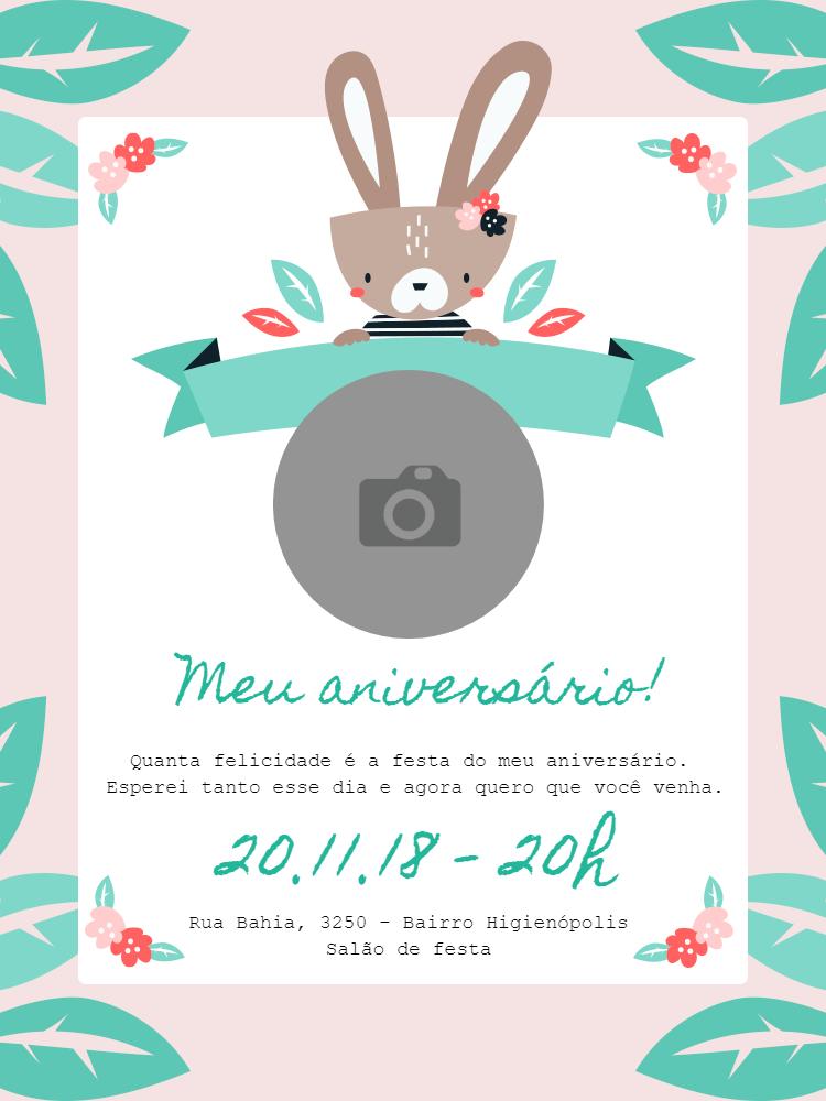 Convite cartão aniversário, coelho, rosa, fofo, menina, flores, natureza, infantil, comemoração, celebração, online, digital, personalizado, whatsapp