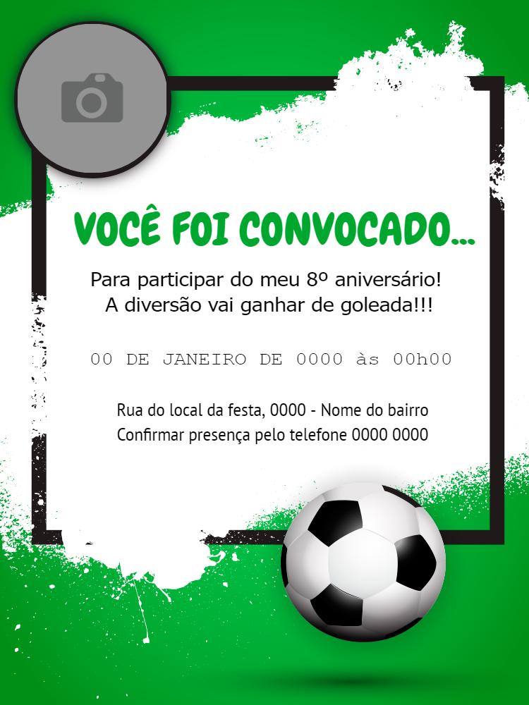 convite aniversário, festa, menino, futebol, verde, criança, bola, foto, comemoração, celebração, online, digital, personalizado, whatsapp
