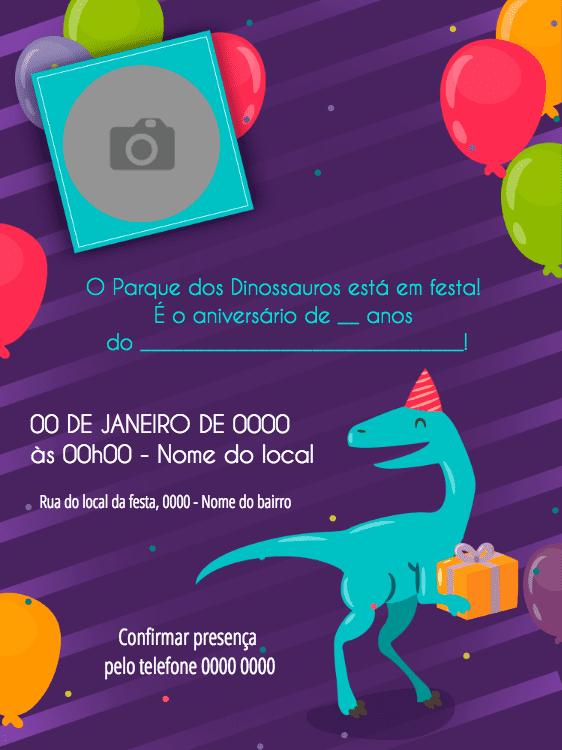 convite aniversário, festa, criança, menino, dinossauro, infantil, balões, colorido, presentes, foto, comemoração, celebração, online, digital, personalizado, whatsapp