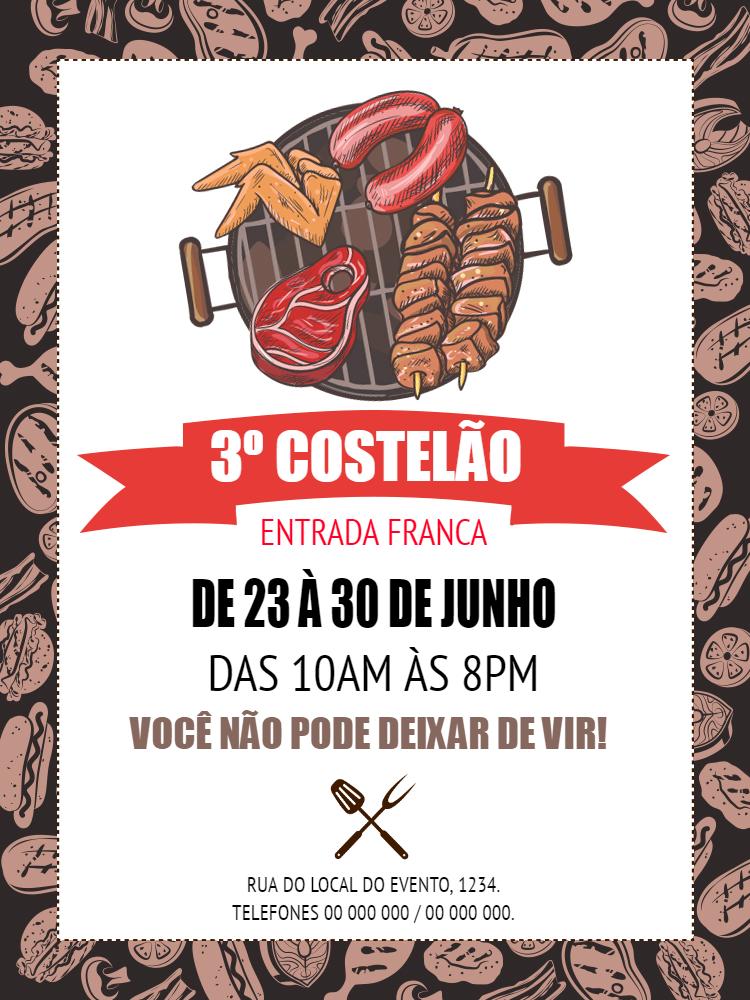 Convite Churrasco, festa, evento, encontro, carne, costela, costelão, adulto, comemoração, celebração, online, digital, personalizado, whatsapp
