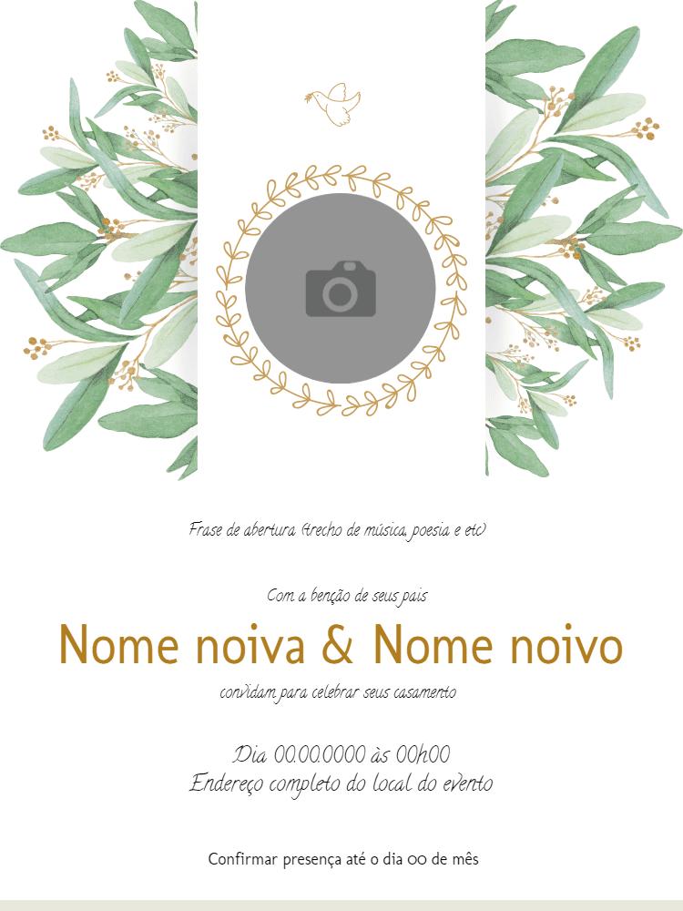 convite casamento, festa, branco, plantas, foto, elegante, pomba, natureza, delicado, celebração, online, digital, personalizado, whatsapp