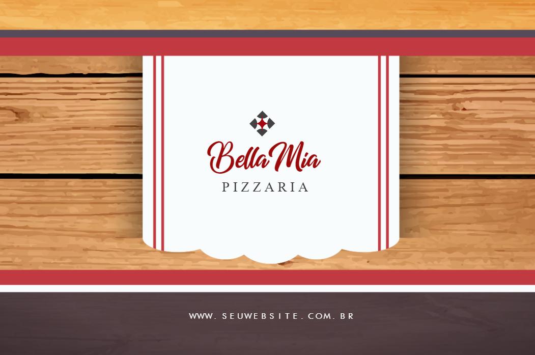 Cartão Visita Frente Pizzaria, comida, fastfood, pizza, italiana, massa, alimentação, madeira, vermelho, preto, online, digital, personalizado, whatsapp
