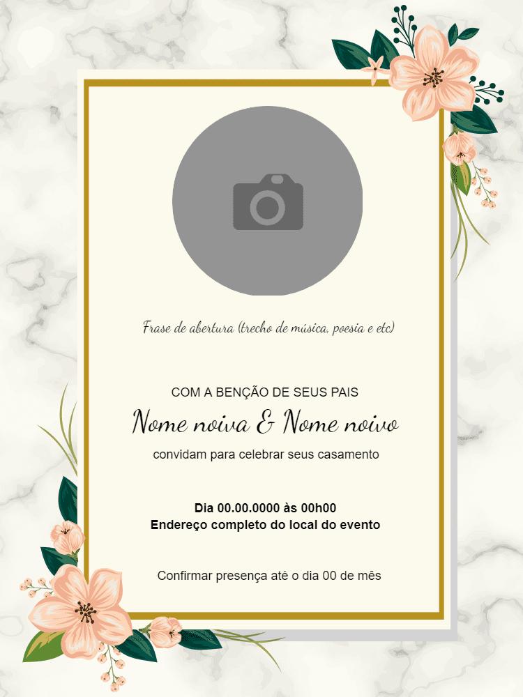 convite casamento, festa, elegante, flor, rosa, dourado, delicado, comemoração, celebração, online, digital, personalizado, whatsapp