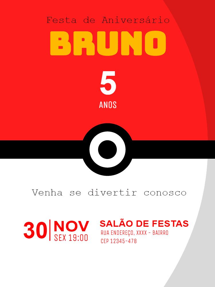 Convite aniversário Pokemon, pikachu, festa, infantil, pokebola, vermelho, branco, preto, jogo, game, comemoração, celebração, online, digital, personalizado, whatsapp