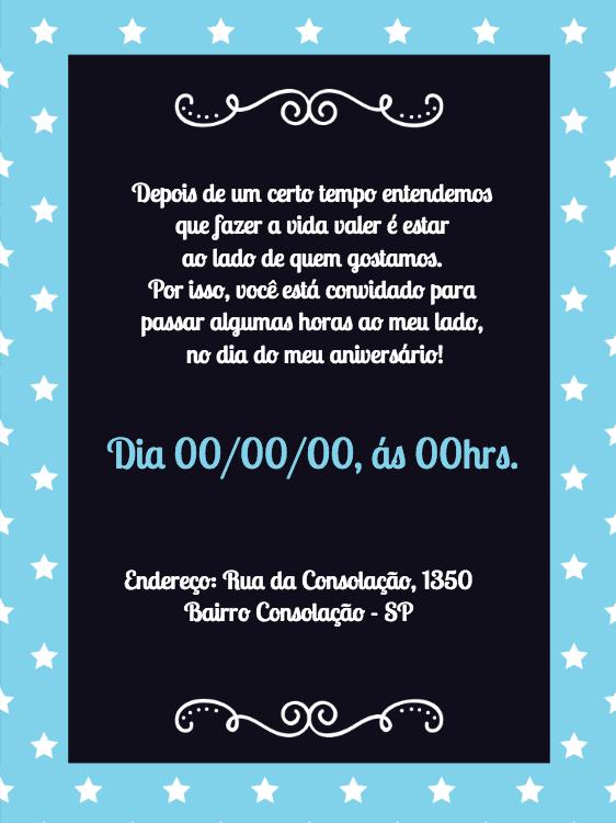 convite aniversário, festa, estrelinhas, azul, mulher, preto, comemoração, celebração, online, digital, personalizado, whatsapp, infantil, noite, pijama